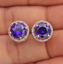 18K White Gold Filled- Round MYSTICAL Topaz Amethyst Morganite Earrings 7 Color