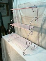 Vintage METAL 3 Tier  PLANT STAND mid century modern Pink  wire rack side table