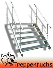 6 Stufen Stahltreppe beidseitig. Geländer Breite 100cm Geschosshöhe 90-120cm