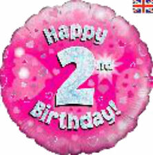 """OAKTREE 18"""" PINK 'HAPPY 2nd BIRTHDAY' FOIL BALLOON FOR HELIUM  - 227536"""