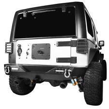 "For Jeep Wrangler JK 07-18 Rear Bumper Offroad w/ 2"" Hitch Receiver & 2x Lights"