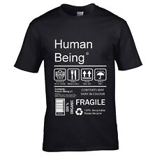 Funny Human Being Package Care Instructions label motif mens t-shirt top gift