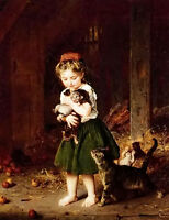 Beautiful Oil ludwig knaus - a handful of kittens little girl with cats canvas