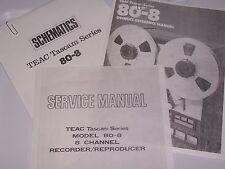 Teac Tascam Model 80-8 Recorder  Owners / Service / Schematics PDF Manuals