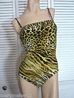 NWT $119 Profile by Gottex Swimwear 6 Savannah One-Piece Bandeau Animal Print