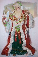Porcelain Santa Red Robe Doves Christmas Swarovski Crystal NIB Franklin Mint