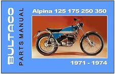 BULTACO Parts Manual Alpina 350 250 1971 1972 1973 1974 Spares Catalog List