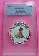 2006 AUSTRALIA SILVER  YEAR OF THE DOG 5OZ COLOURISED PCGS MS69