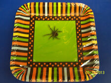 "Spooky Spiders Green Orange Stripe Halloween Party 7"" Square Dessert Plates"