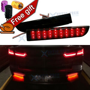 Smoked Lens Bumper Reflector LED Brake Stop Lights For Mitsubishi Lancer EVO X