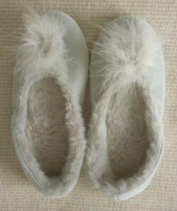 The White Company silver grey feather pom pom slippers FRCBS size UK5