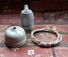 Vintage pendentif kit original céramique plafond rose & céramique E27 lampe support Set2