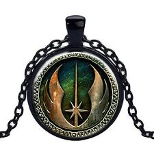 Wholesale Cabochon Glass Black  Chain Pendant Necklace, Star Wars  /153