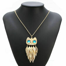 Women Owl Rhinestone Crystal Pendant Necklace Animal Long Sweater Chain Jewelry