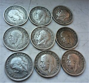 LOVELY LOT OF 9 x  BRITISH SILVER THREEPENCE COINS  GEORGE V PRE 1947