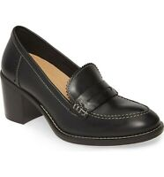 Hush Puppies Women's Hannah Penny Mocc Pump Wide Black Leather, MSRP $109.95
