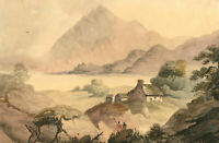 Late 19th Century Watercolour - Mountainous Landscape with Cottage
