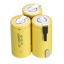 Hot 3 pièces 1.2V 1300mAH Sub C SC Ni-Cd NiCd Batterie rechargeable jaune