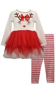 Bonnie Jean Girls Christmas Holiday Reindeer Dress Red Tutu Legging Set