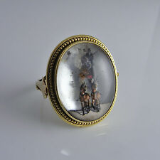 Stagecoach Georgian 18th Century 18K Gold Ring Essex Crystal Antique Miniature