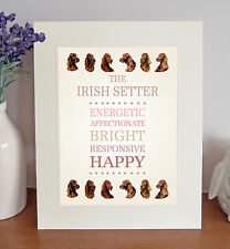 "Irish Setter 10"" x 8"" Free Standing Breed Traits Picture Mount Lovely Gift Idea"