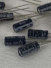 4.7 uF 50V Electrolytic Capacitor, Radial 85ºC Nic Comp. Nrsa Series - Lot of 11