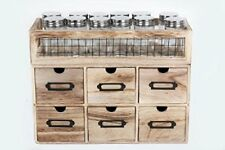 Set Of 12 Glass Spice & Herbs Jars With 6 Wooden Storage drawer Holder Stand