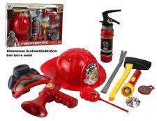 Set Pompiere Deluxe 10 Pz Vigili del Fuoco Pompieri Giocattoli Cappello Bussola