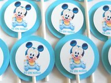 "30 BABY MICKEY MOUSE ""ES UN NIÑO"" Cupcake Toppers Party Favors, Baby  Shower 30"