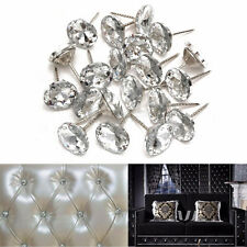 20pcs 20mm Crystal Gem Flower Upholstery Sofa Headboard Buttons Nails Silver