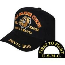 Marines Once a Marine Corps EGA Devil Dog First to Fight Embroidered Cap Hat