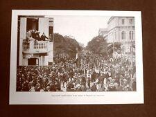 WW1 Prima guerra mondiale 1914-1918 Bucarest nel 1915 Manifestazione d'Italiani