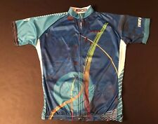 Blue Full Zippered Front Cycling Jersey by Ilpaladino - Size 2Xl