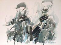 Urhy Gislain encre et aquarelle sur papier signée 1980 art abstrait pologne