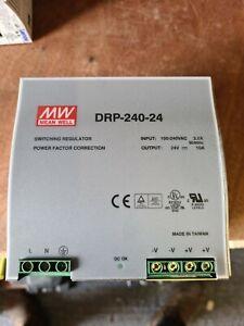 1 MW (Mean Well) DRP-240-24  (100-240v input) DIN Rail Power Supply 24V DC 10A