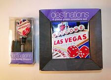 Las Vegas Wine Bottle Stopper and 4 Glass Coasters - Destinations by Laarts