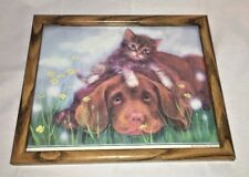 Puppy And Kitten Picture Framed
