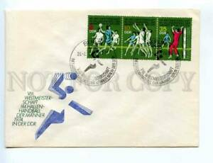417230 EAST GERMANY GDR 1974 year handball strip of stamps First Day COVER