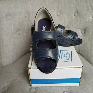 Navy cosyfeet ladies sandals size 6 comfy and roomy fitting with fastening...