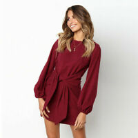 Womens Mini Dress Lady Casual Party Short Blouse Tops Autumn Winter Wear Outdoor