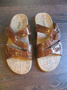 ORTHAHEEL Holly Womens Size 9 Brown Croc Print Adjustable Strap Slides Sandals