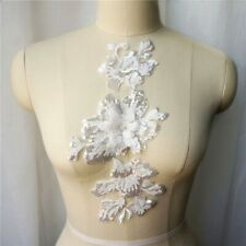 New listing White Sequin Flower Lace Fabric Collar Embroidered Gown Appliques Wedding Dress
