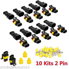 10 Kits 2 Pin Way Sealed Waterproof Electrical Wire Connector Plug Car Auto Van