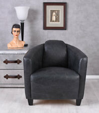 Vintage Chaise en Cuir Véritable Rétro Fauteuil Type Déco Meuble Assis