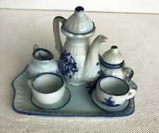 Delft Hand Painted Blue White Miniature Tea Set Holland Windmill EUC