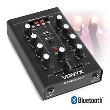 More details for 2 channel desktop dj mixer with bluetooth, crossfader, usb player with mic input