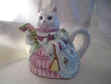 Vtg 1990 Ceramic Musical Tea Coffee Pot Lefton Victorian Cat Teapot Music Box
