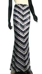 Randolph Duke Diagonal Long Multi color black Skirt with Beading and Sequins - 4
