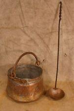 Antique 18th-19th Century Primitive Copper Kettle and Copper Ladle