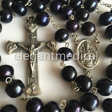 Lager 10mm Black Real Pearl BEADS Catholic ROSARY CROSS crucifix Necklace & box